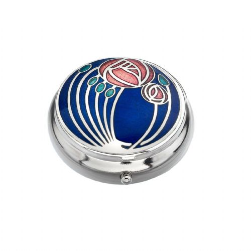 Pill Box Silver Plated Mackintosh Rose Roses Blue Brand New and Boxed